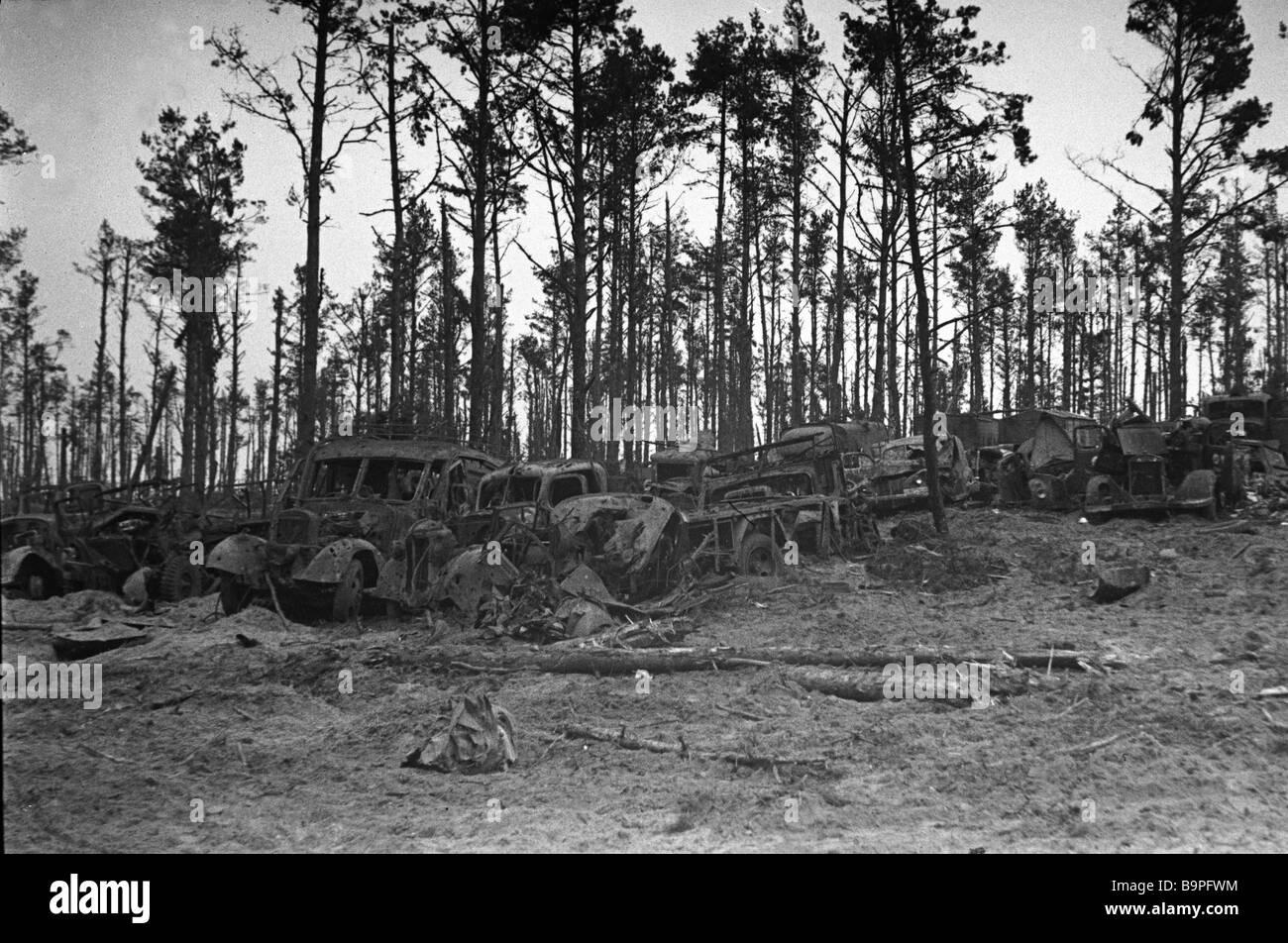 Destroyed Nazi vehicles near Orel - Stock Image