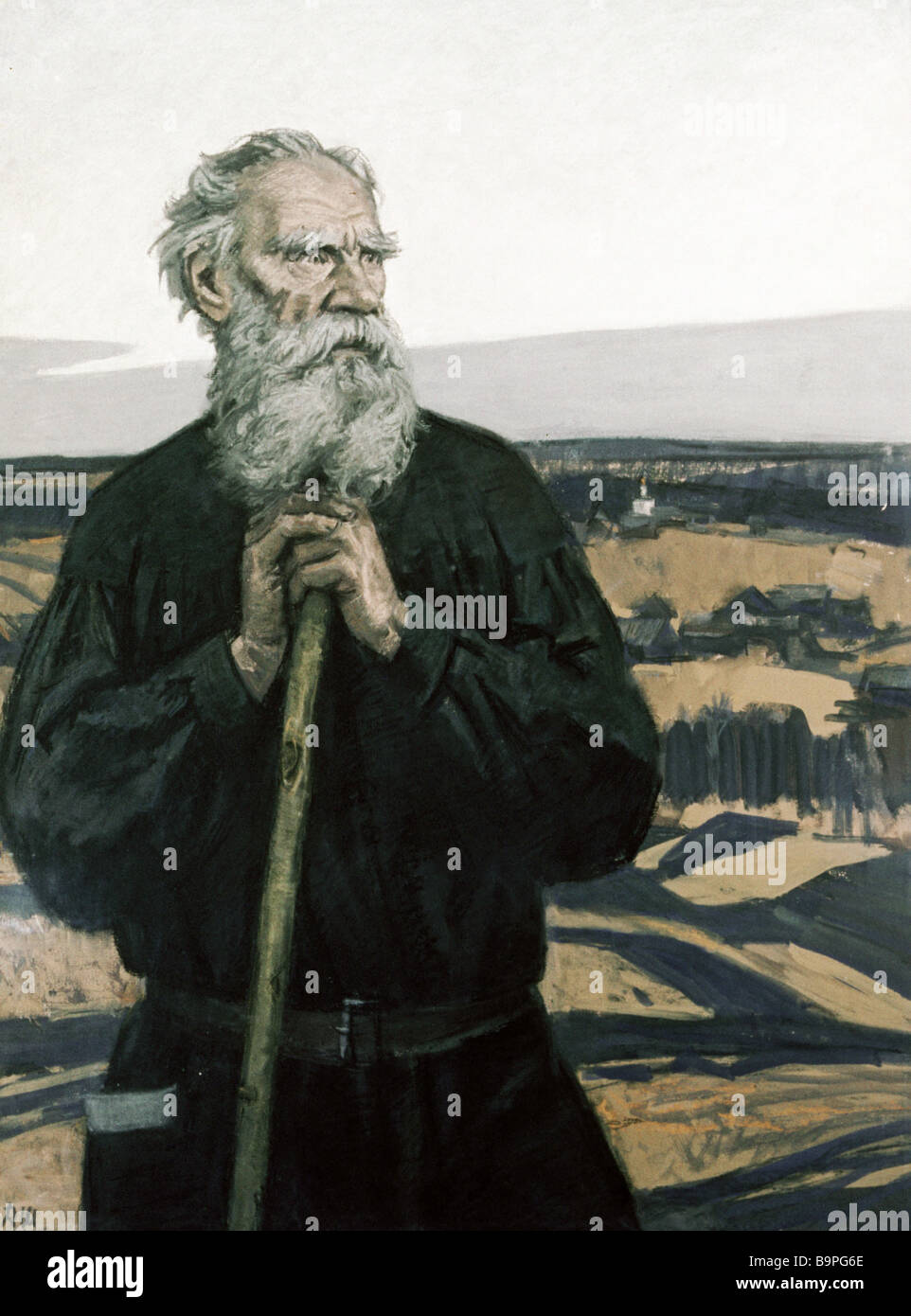 Reproduction of painting Portrait of Leo Tolstoi by Dementy Shmarinov - Stock Image