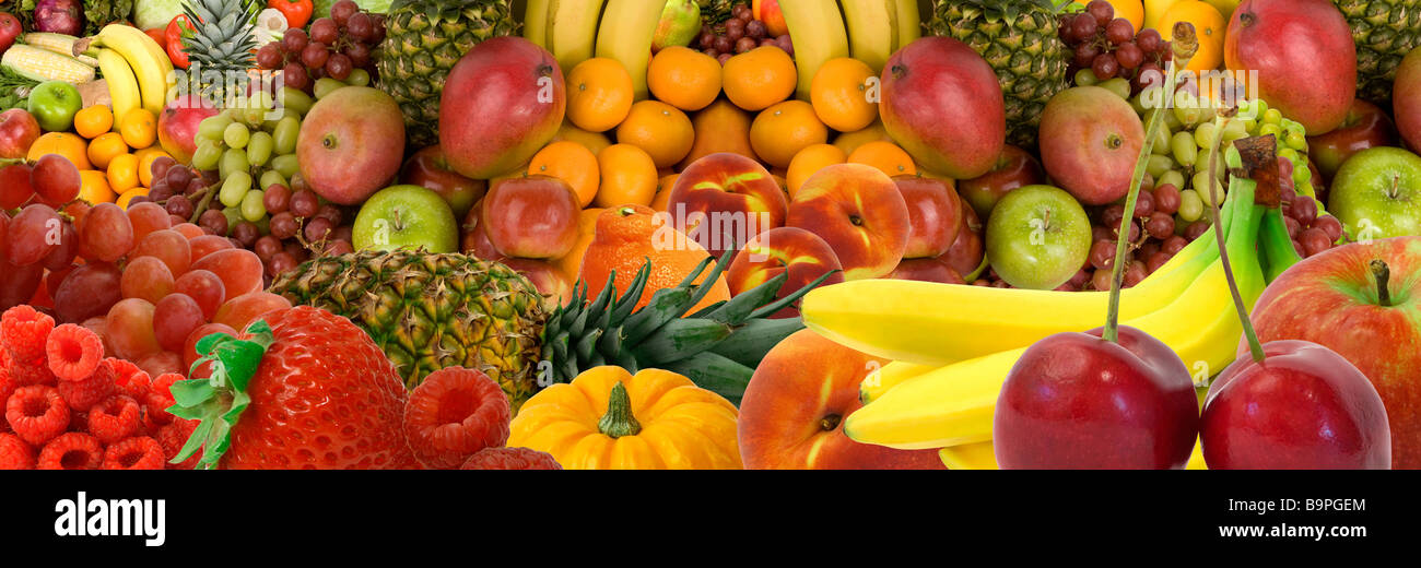 This is a panorama display of various fruits - Stock Image