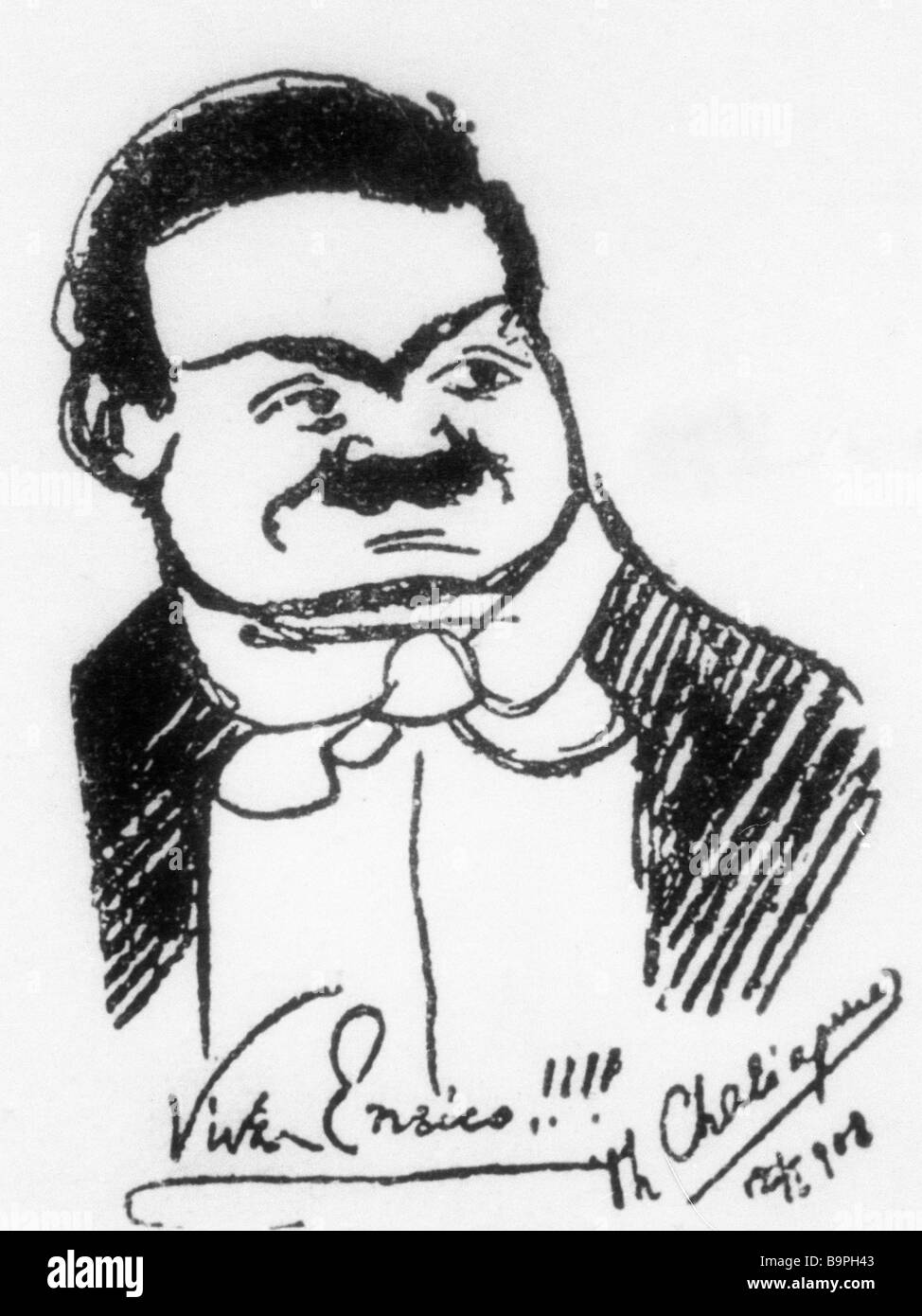 Reproduction of Feodor Chaliapin caricature - Stock Image