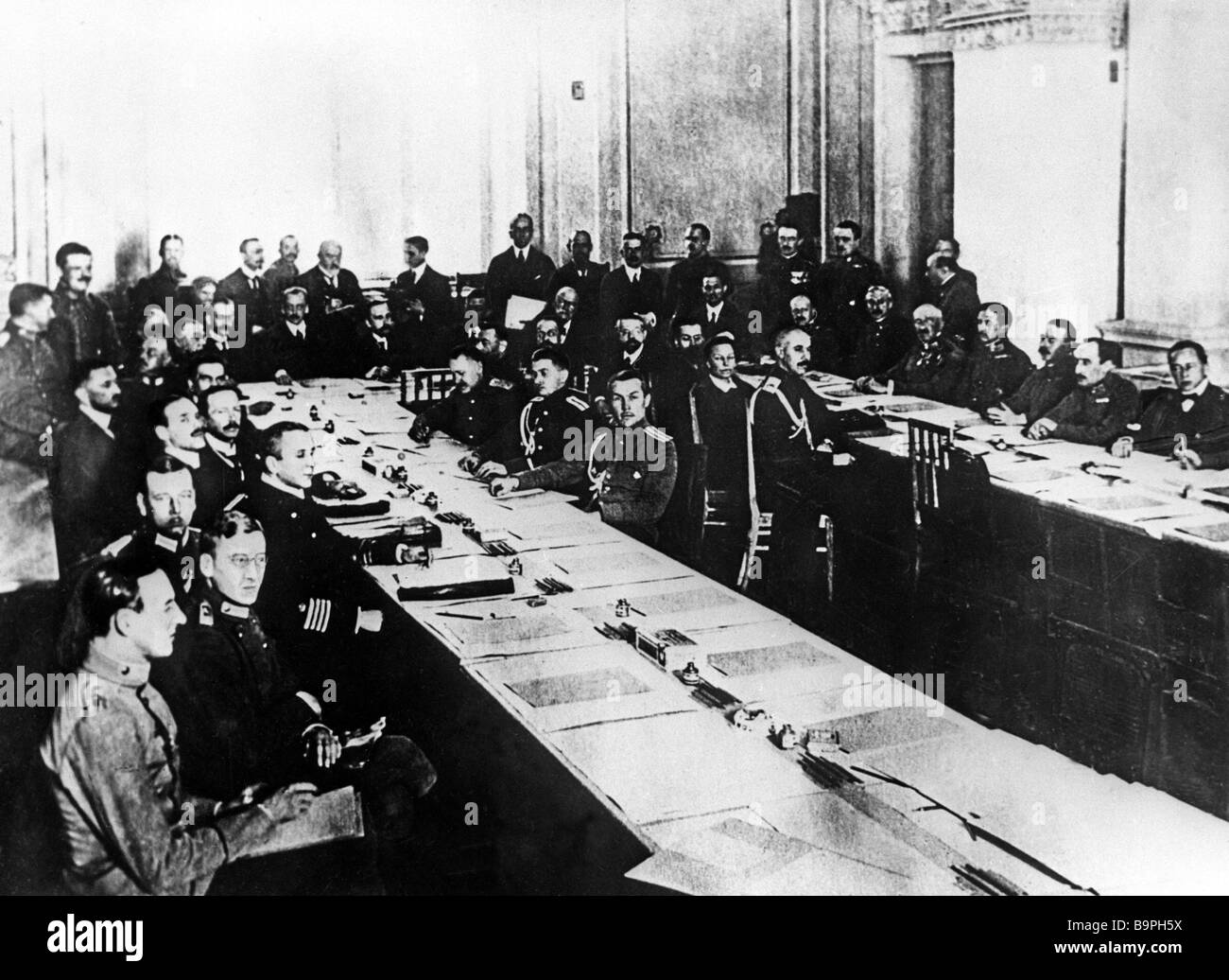 A conference in Brest Litovsk 1918 at which Soviet Russia concluded peace with Germany Austria Hungary Bulgaria - Stock Image