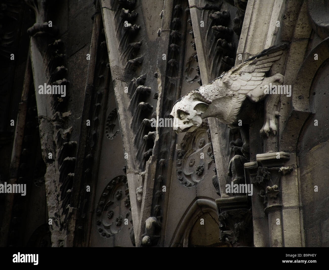 Gargoyle Waterspout on the North Face of Notre Dame Cathedral, Paris France Europe - Stock Image