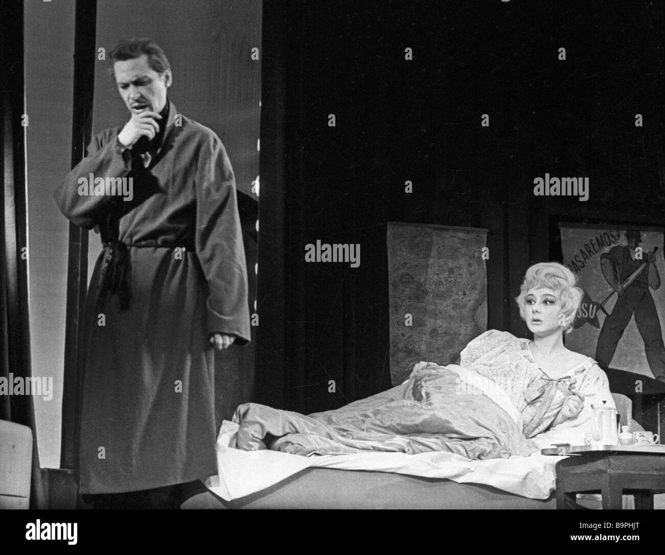 Oleg Yefremov left as Philipp and Tatiana Lavrova as Dorothy in a play adapted to the stage from Earnest Hemingway - Stock Image