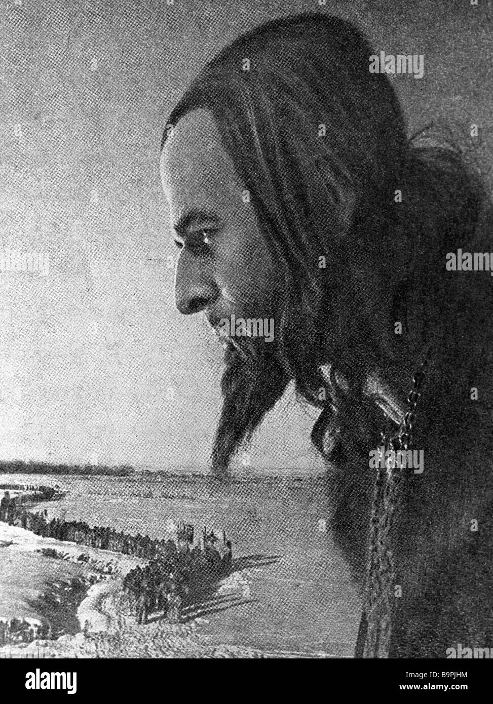 Nikolai Cherkasov as Ivan Grozny Ivan the Terrible in a scene from the film Ivan Grozny by Sergei Eisenstein - Stock Image