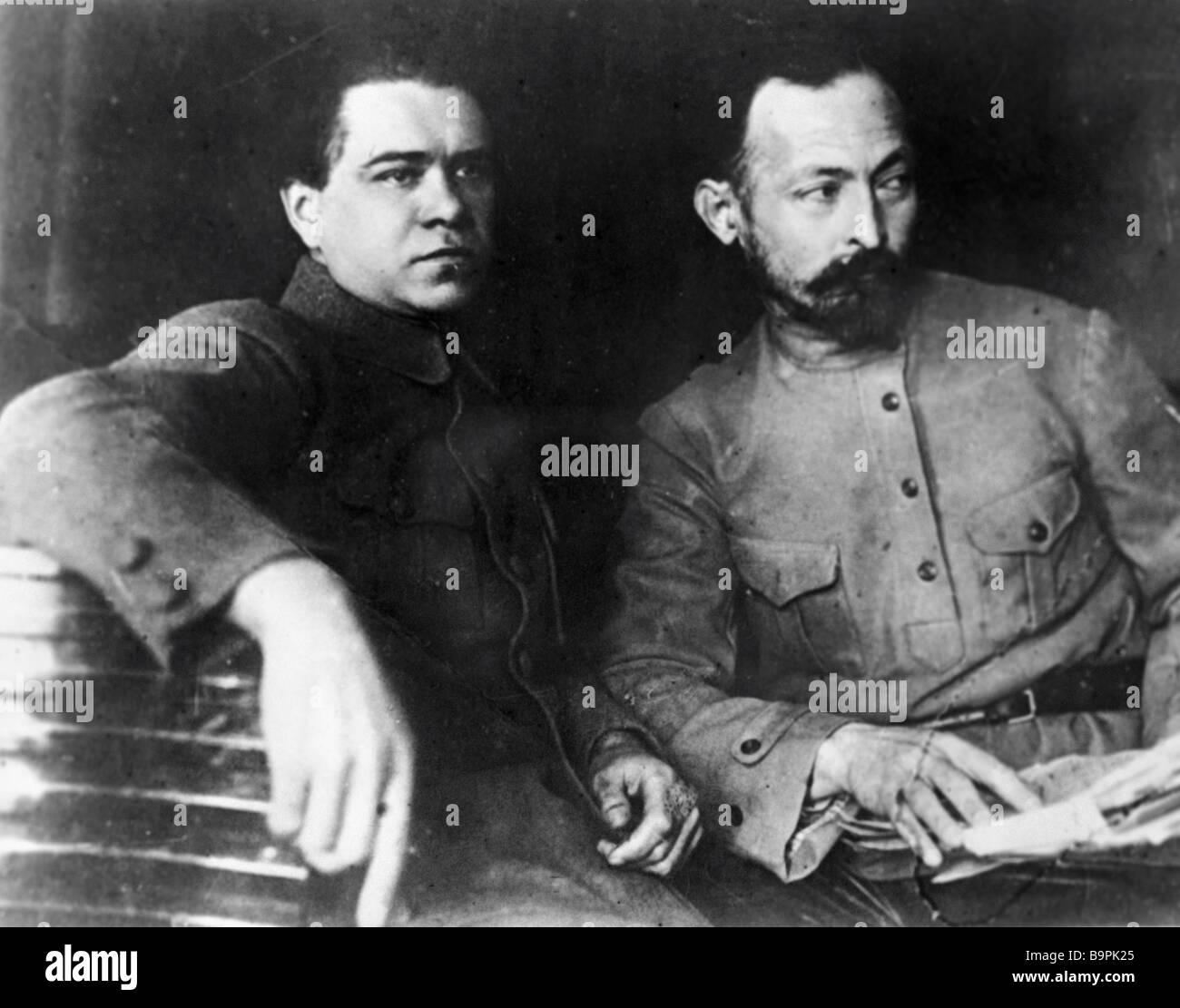 Felix Dzerzhinsky right and Yakov Peters - Stock Image