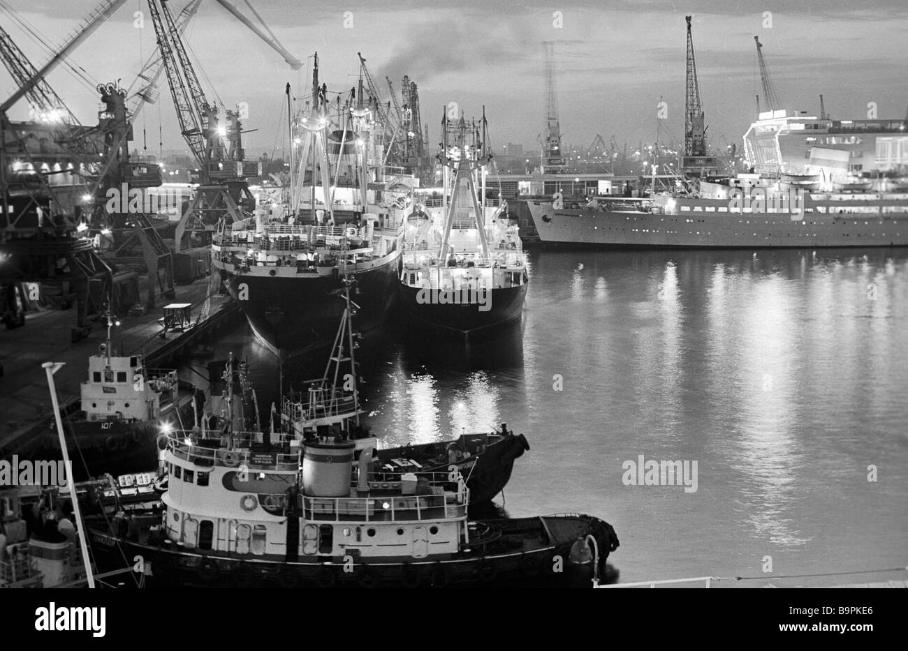 Ships anchored in the Odessa merchant port - Stock Image