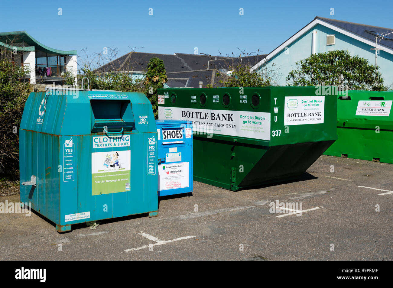 Recycling Banks in a car park in North Devon - Stock Image