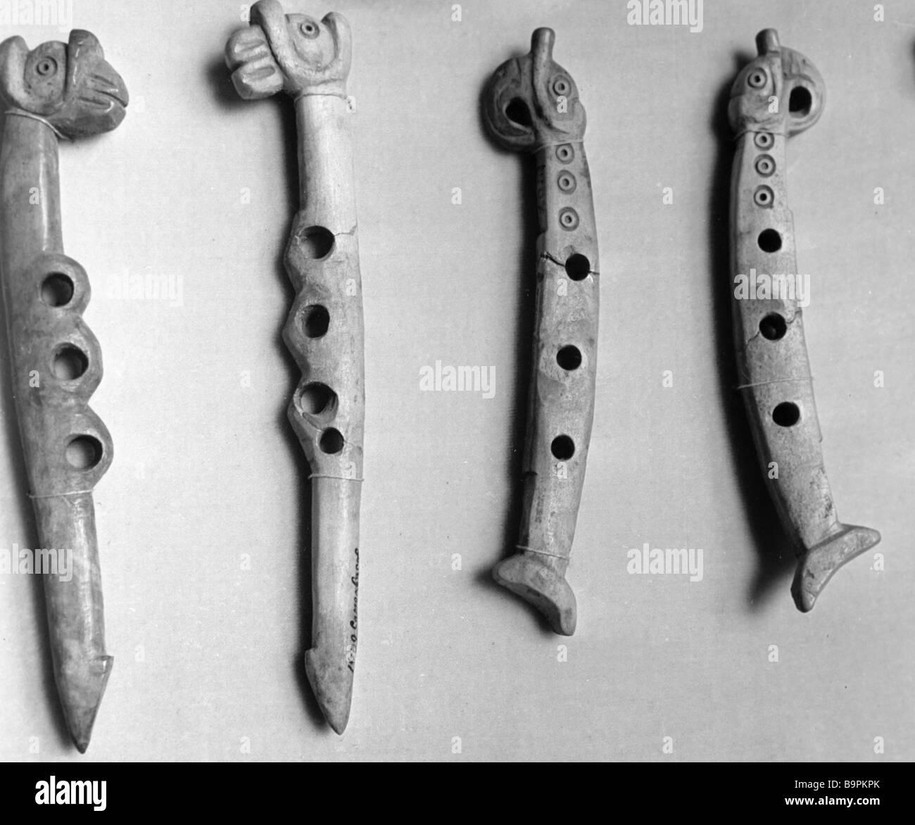 Scythian bone psalium 5th century BC Akvyutintsy settlement Sumy Region D Samokvasov s excavations - Stock Image