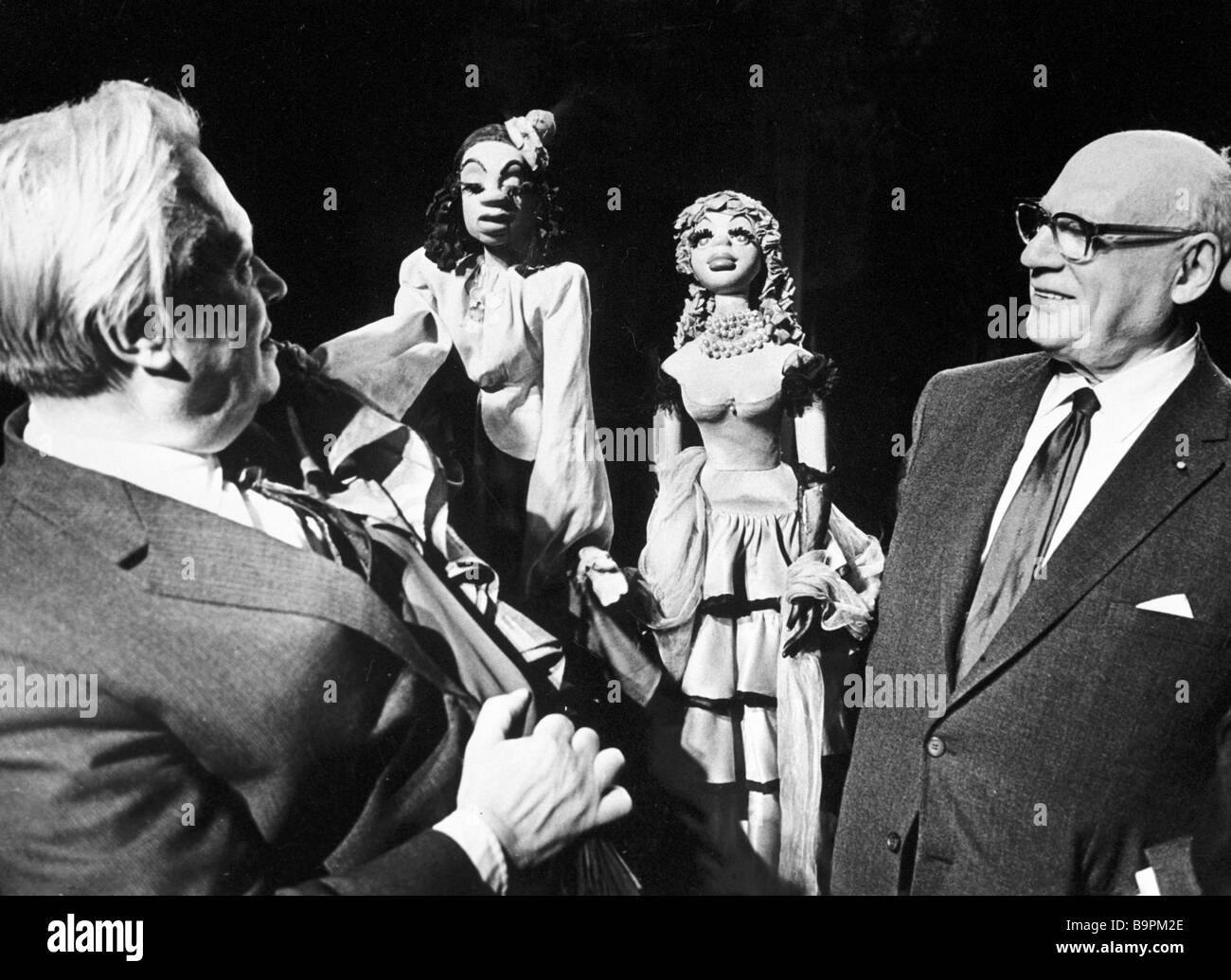 Sergei Obraztsov director of the State Central Puppet Theater left and famous US impresario Sol Hurok right who - Stock Image