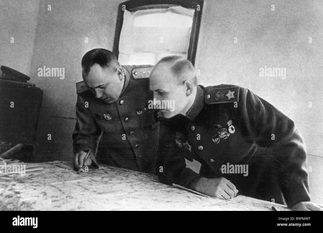 Commander of the 2nd Ukrainian Front Marshal of the Soviet Union I Konev and chief of staff Colonel General M Zakharov - Stock Image