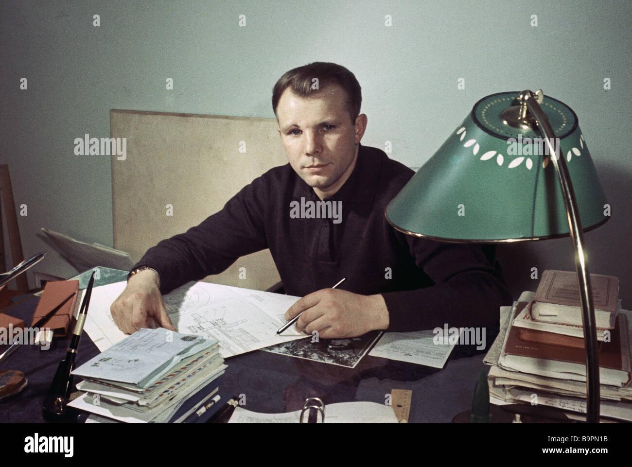 Space pilot Yuri Gagarin in his study - Stock Image