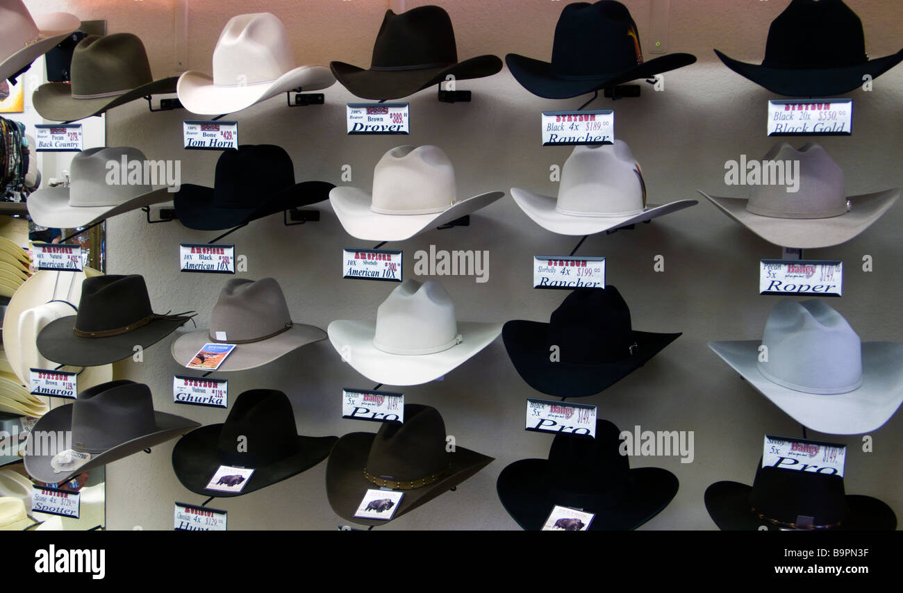 Stetson hat display western outfitter store Cody Wyoming USA Stock ... e74af6cc0d5