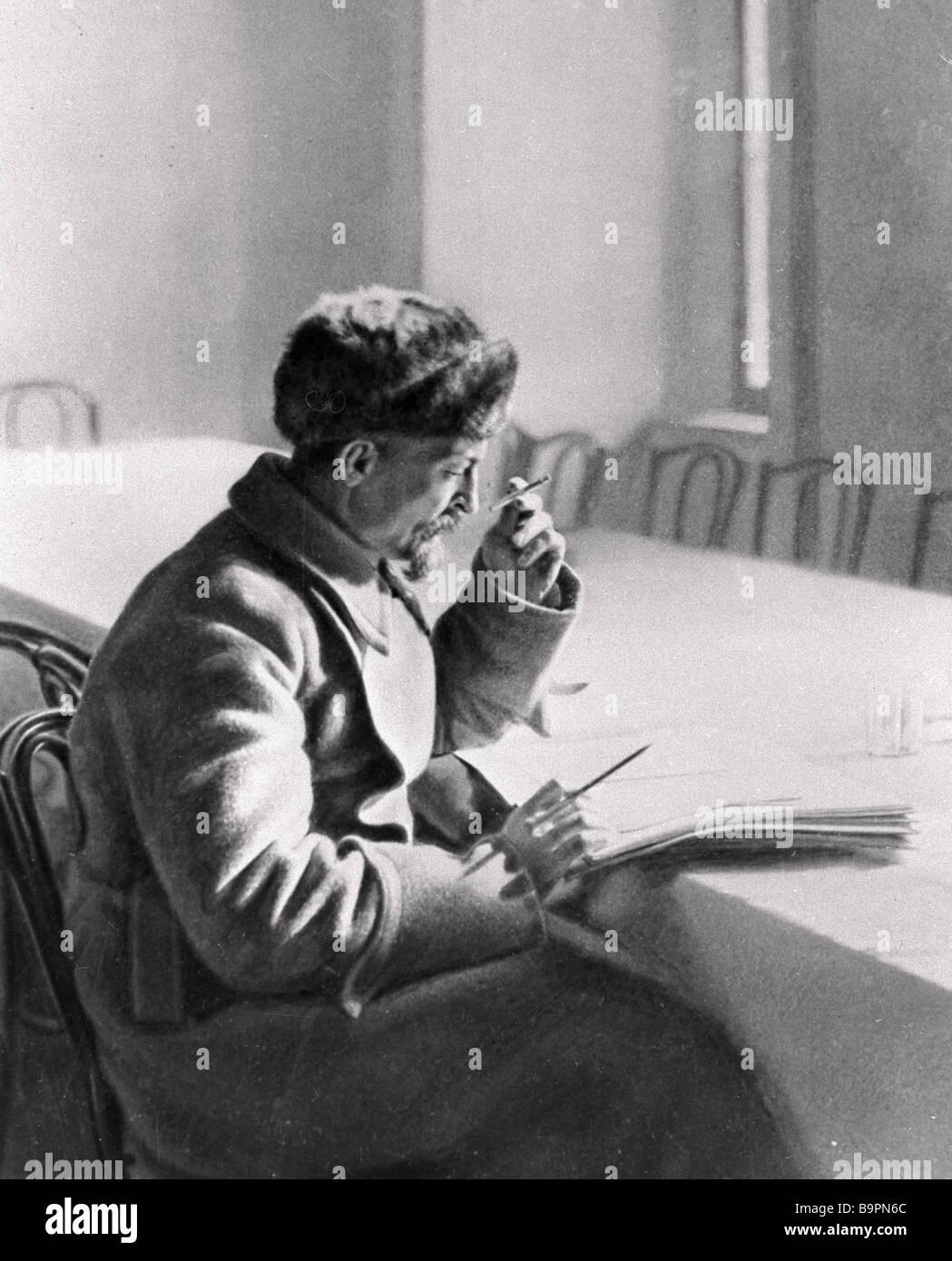 Felix Dzerzhinsky at his writing table - Stock Image