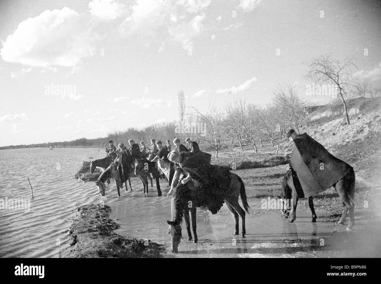 Cossacks of General Pliyev s cavalry corps on the Dniester bank - Stock Image