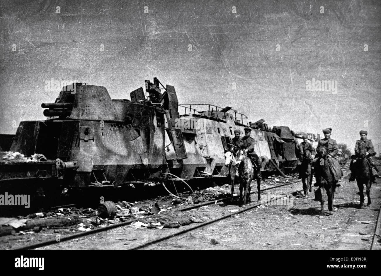 Cossacks examining a Nazi armored train seized on the Razdelnaya railway station near Odessa The 3rd Ukrainian Front Stock Photo