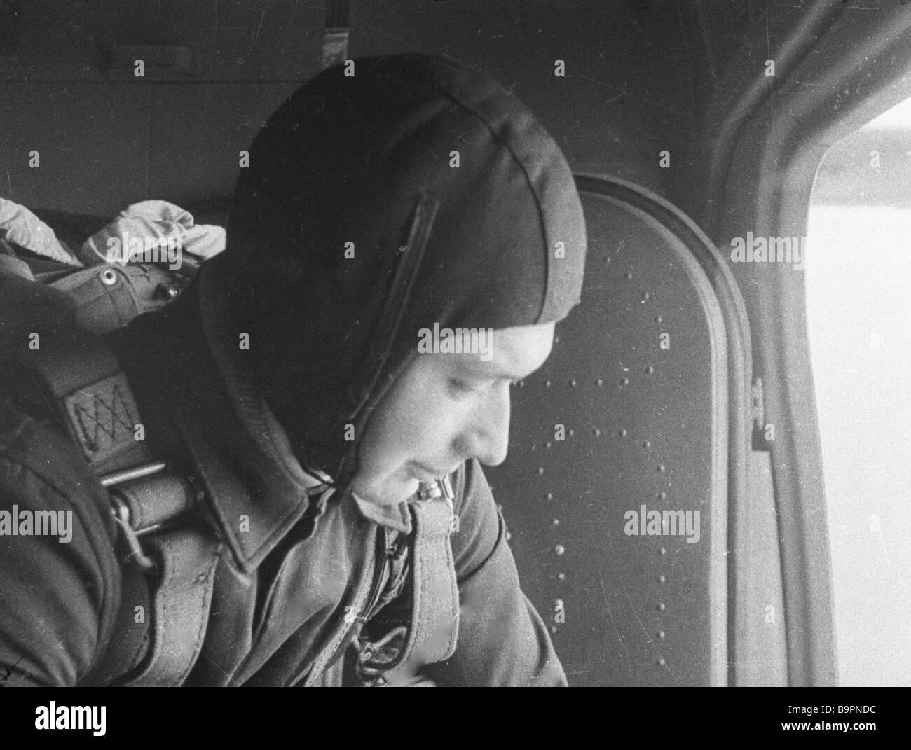 Cosmonaut Boris Yegorov preparing to bail out - Stock Image