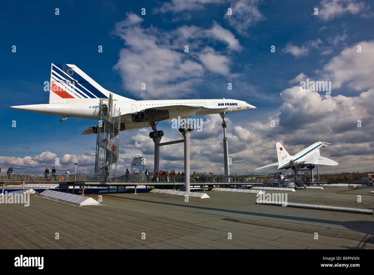 The Soviet and Anglo-French supersonic airliners, no longer in service, on display at a museum in Germany. - Stock Image