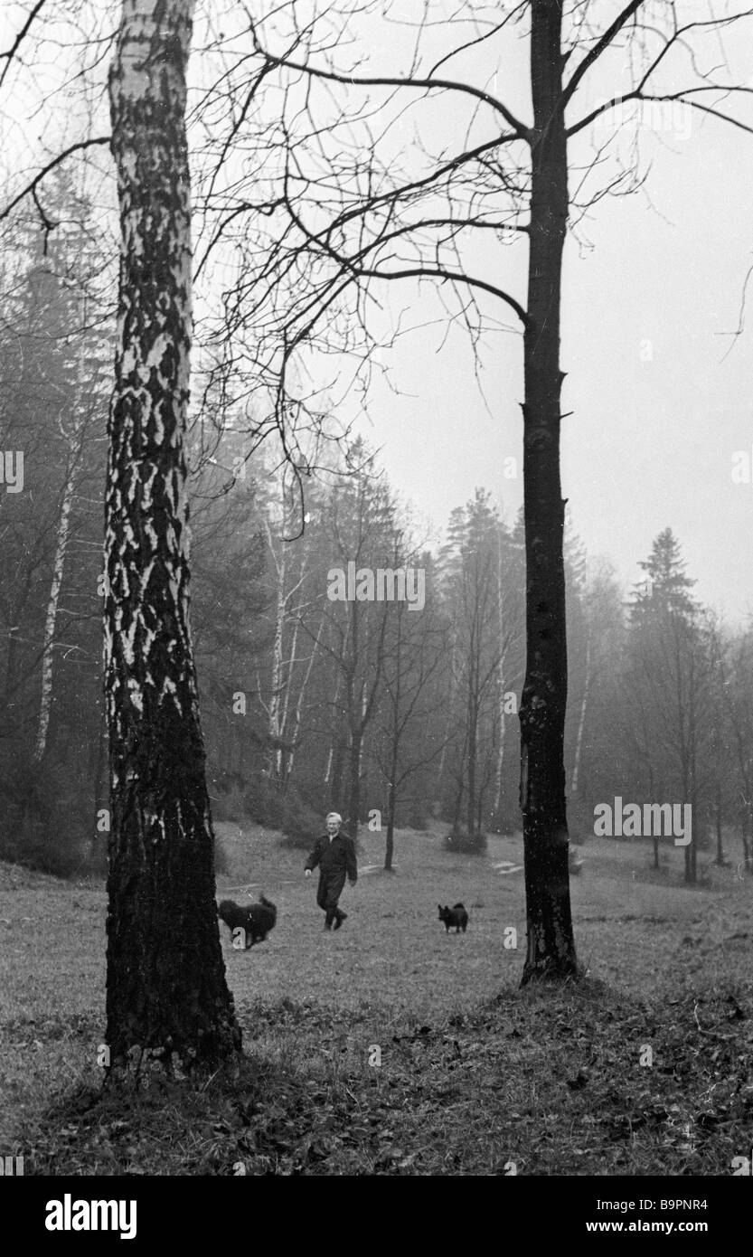 Puppet Theater director Sergei Obraztsov People s Artist of the USSR walking in the forest outside Moscow - Stock Image