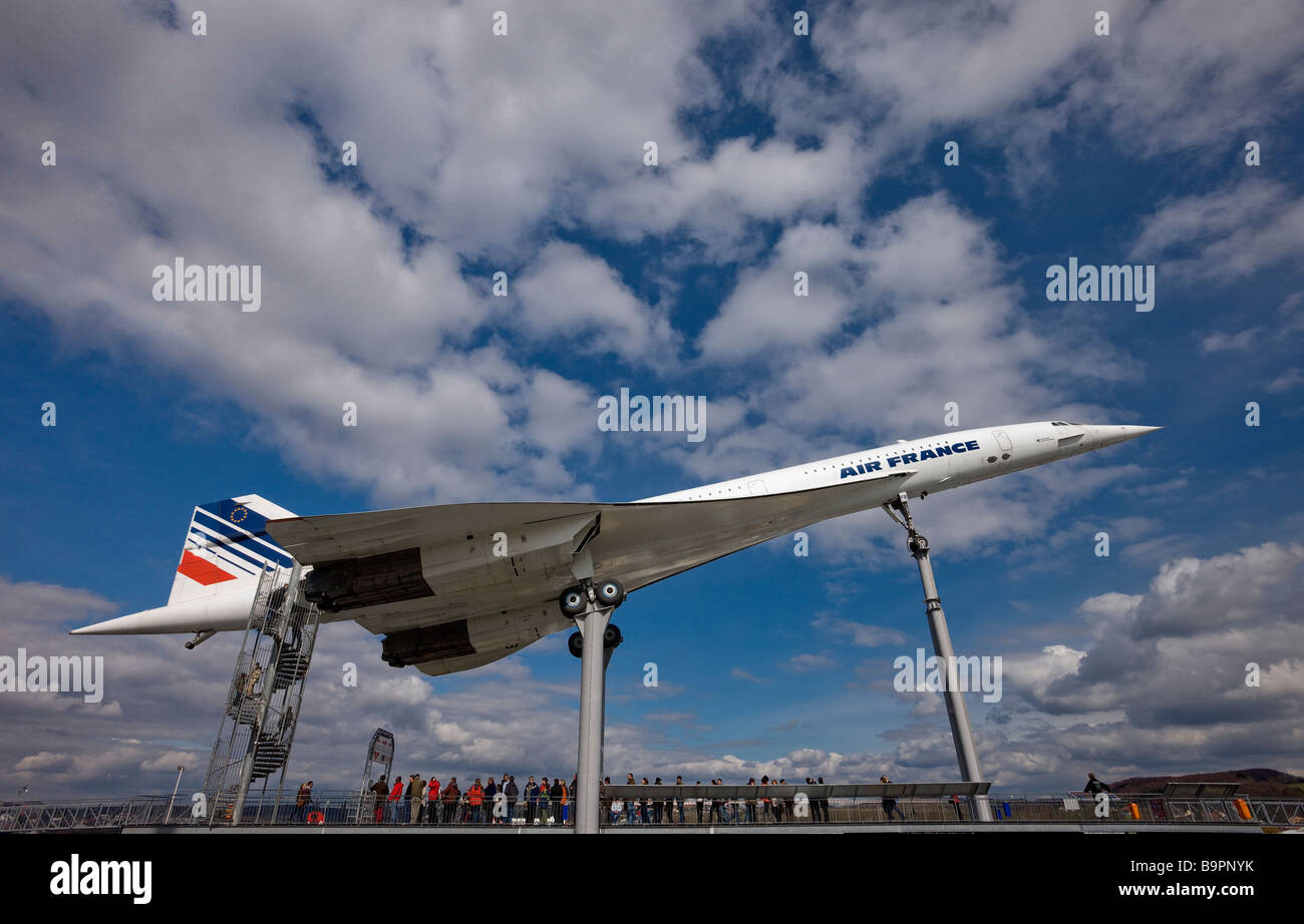 An Air France Concorde supersonic airliner on display at a museum in Germany - Stock Image