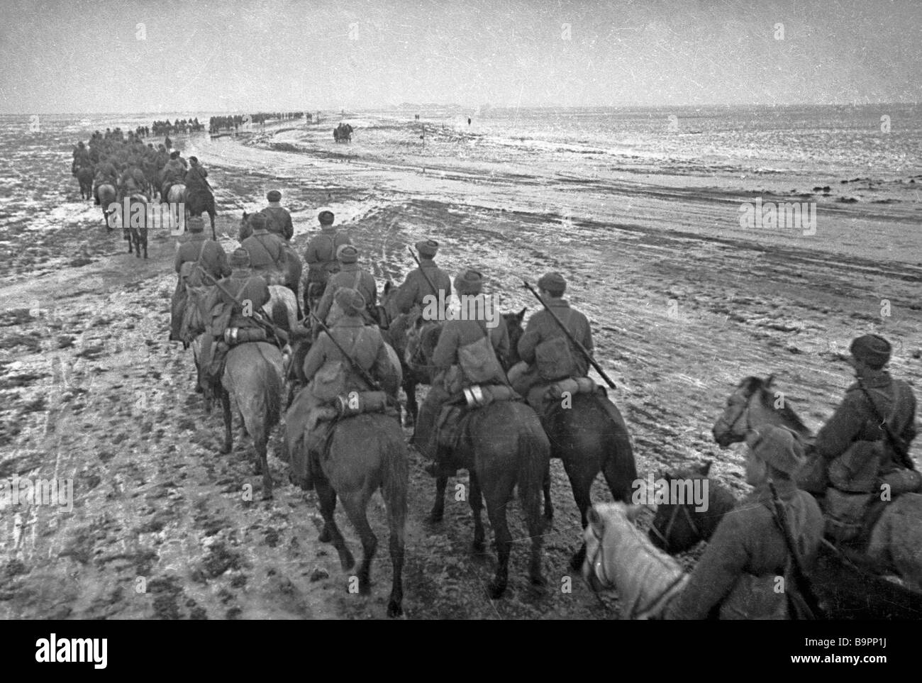 Cavalry units of the 3rd Ukrainian front approach Odessa - Stock Image