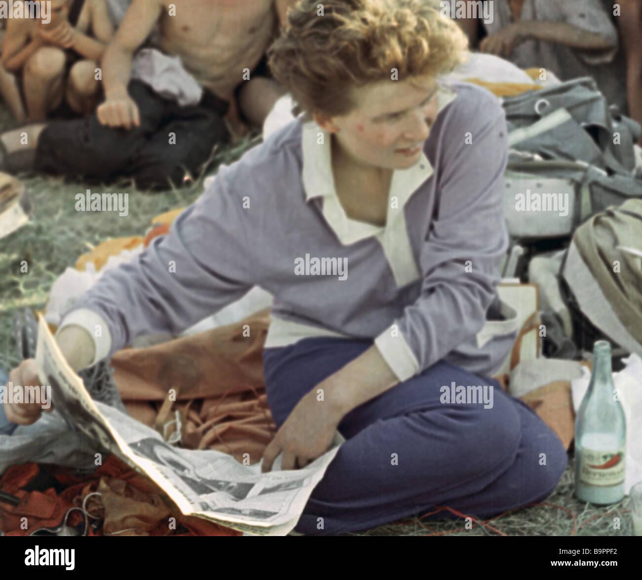 Valentina Tereshkova soon after her Vostok 6 spacecraft soft landed Stock Photo
