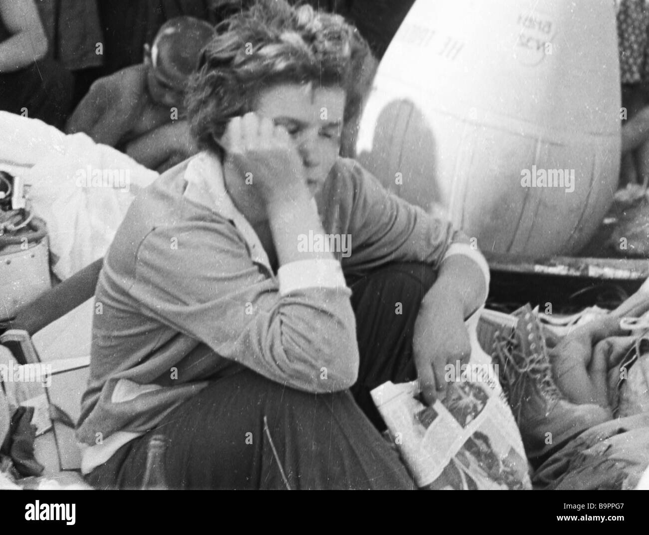 Soviet space pilot Valentina Tereshkova in the first minutes after Vostok 6 spacecraft landing Stock Photo
