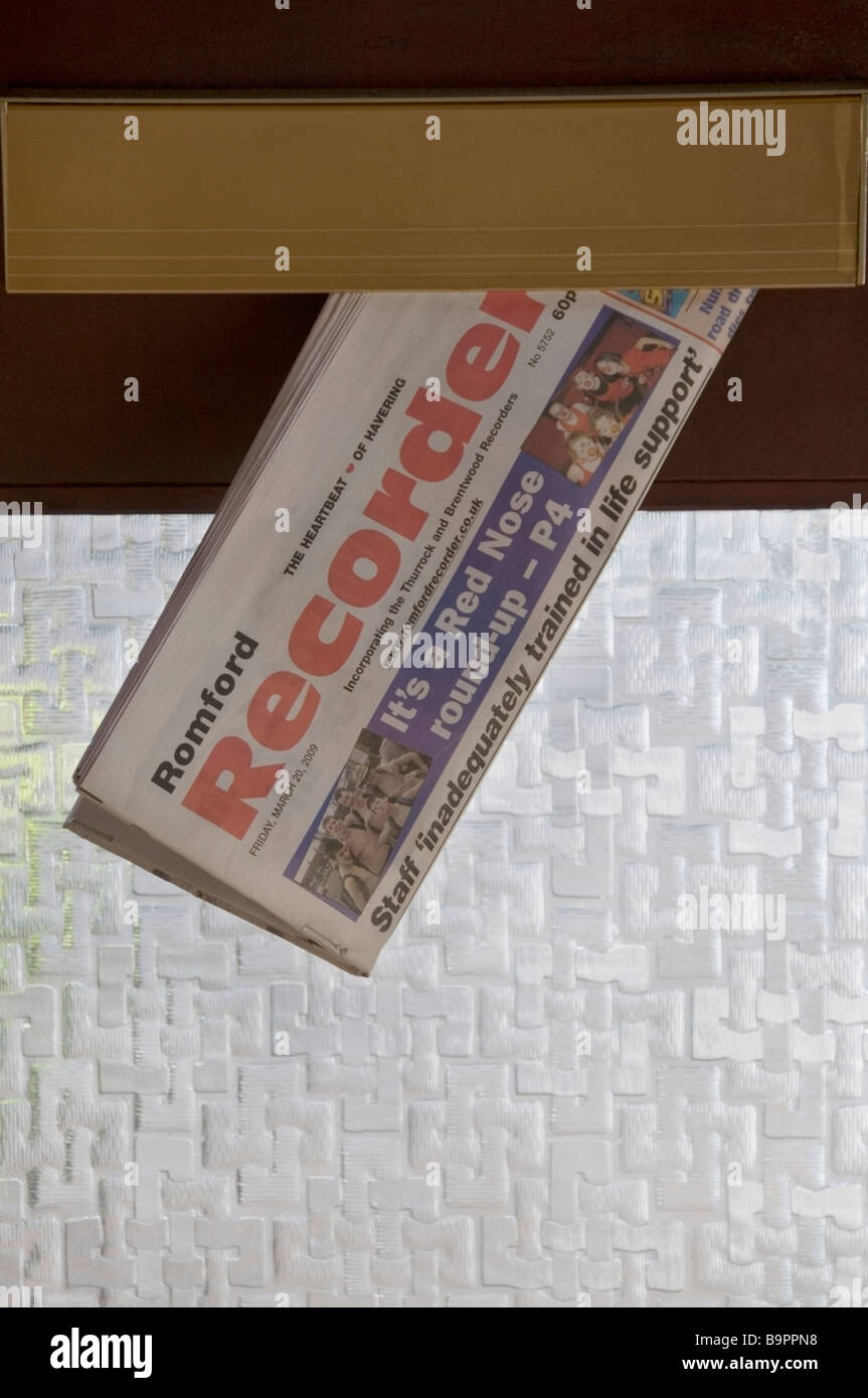 Romford Recorder, local newspaper home delivered through the letterbox, Essex, UK, Europe, EU - Stock Image