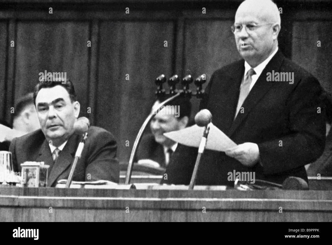 First secretary of the CPSU Central Committee Chairman of the USSR Council of Ministers Nikita Khrushchev right Stock Photo