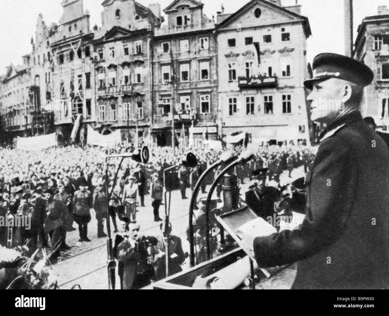 Soviet Union Marshal Ivan Konev speaks before Prague residents upon being awarded the title of honorary citizen - Stock Image