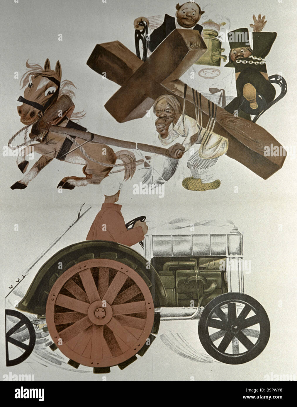 Mikhail Cheremnykh The Cross and the Tractor Civil War poster illustrating Demyan Bedny s propaganda poem Lenin - Stock Image