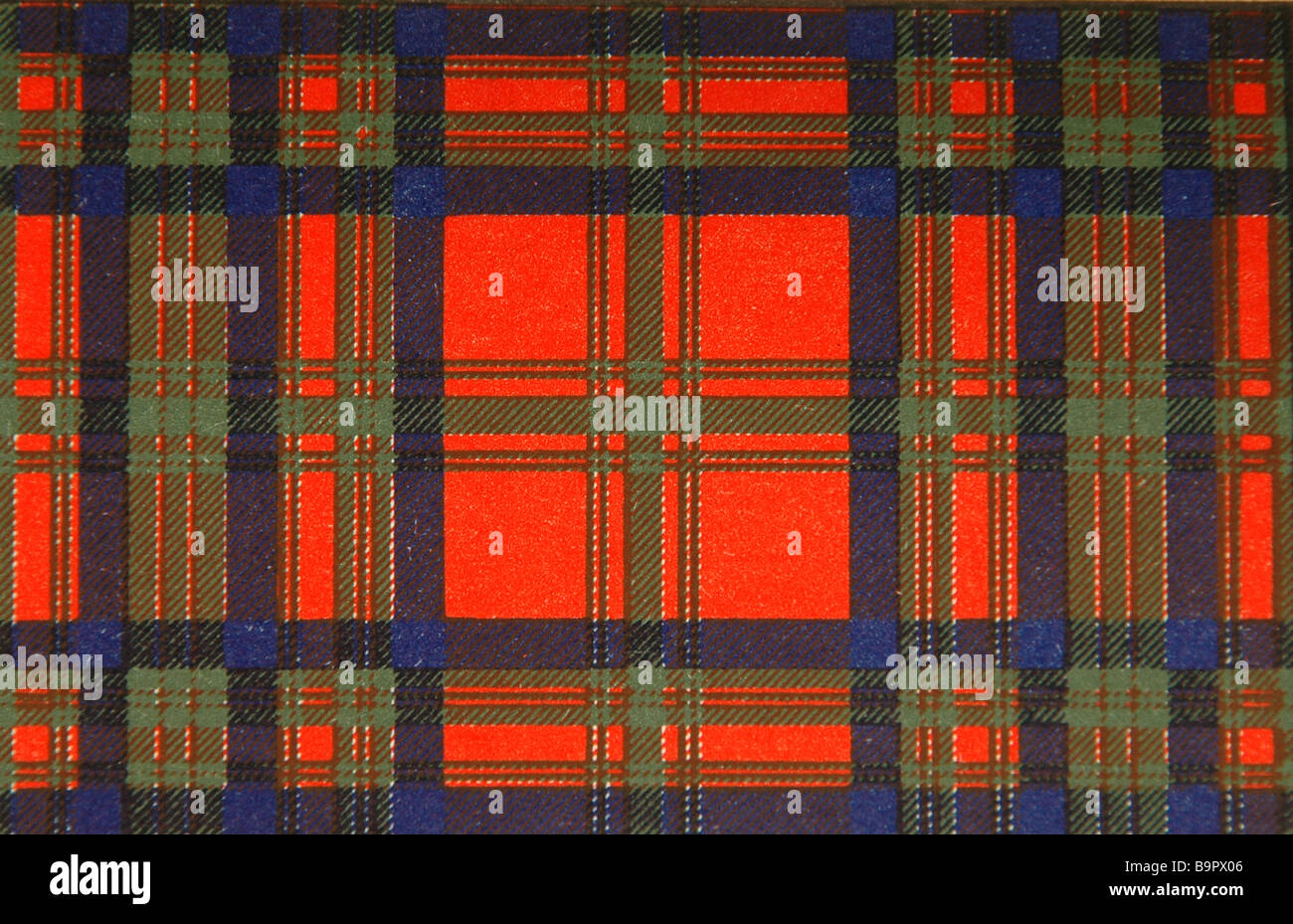 Detail of a red Scottish tartan of the Matheison clan. - Stock Image