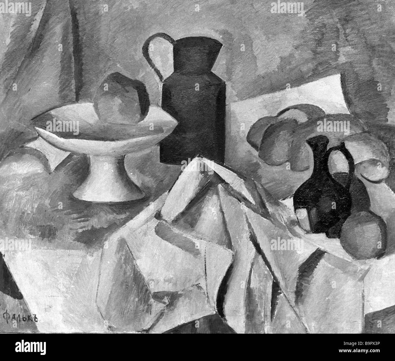 Robert Falk s reproduced Still life on white cloth - Stock Image
