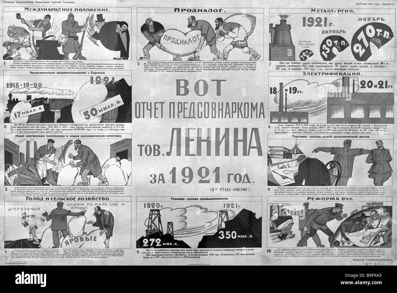 A reproduction of a poster by Mikhail Cheremnykh 1921 - Stock Image
