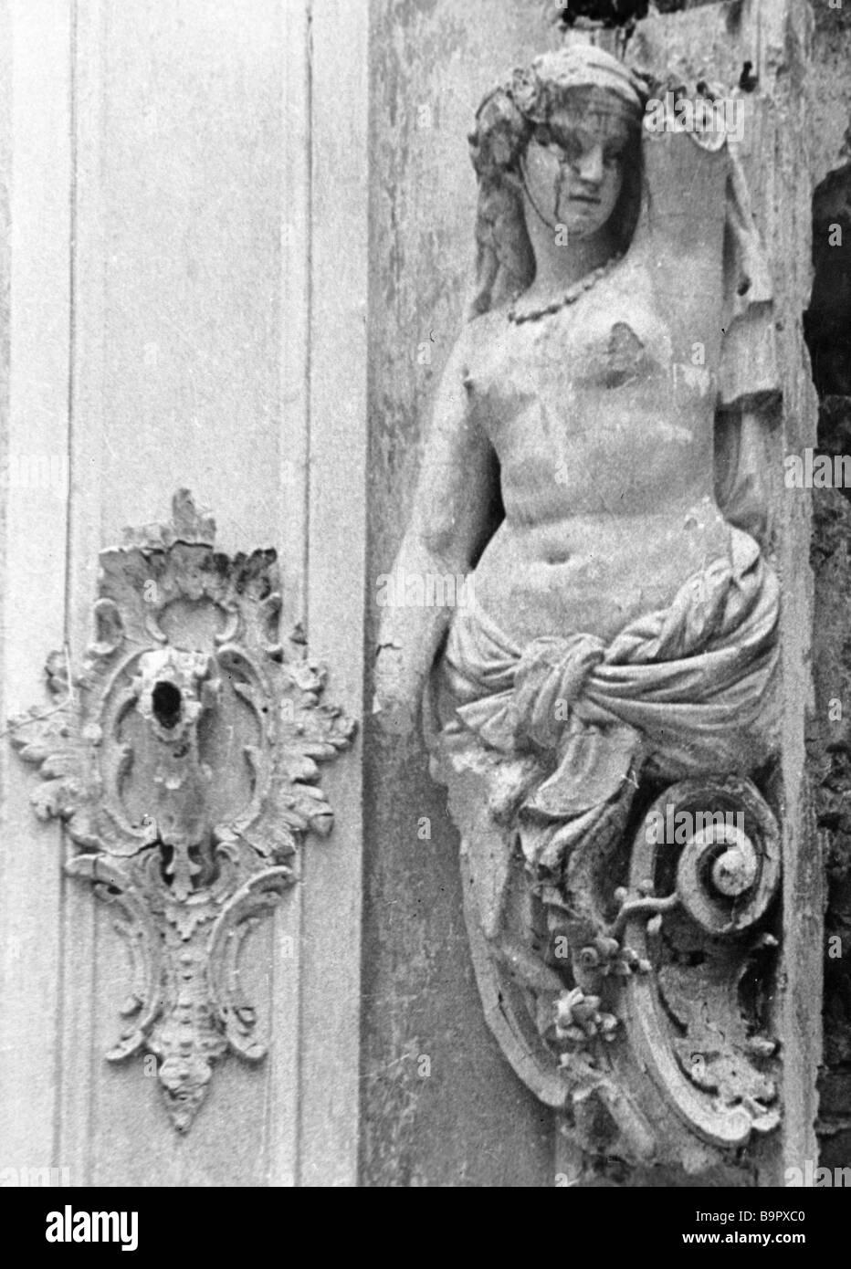 Damaged caryatid of Catherine Palace - Stock Image