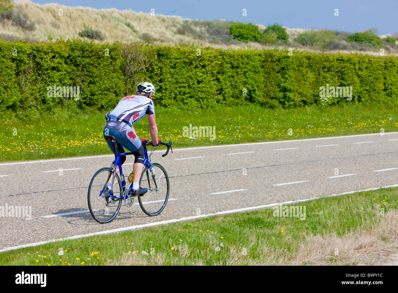 biker Zuid Holland Netherlands - Stock Image