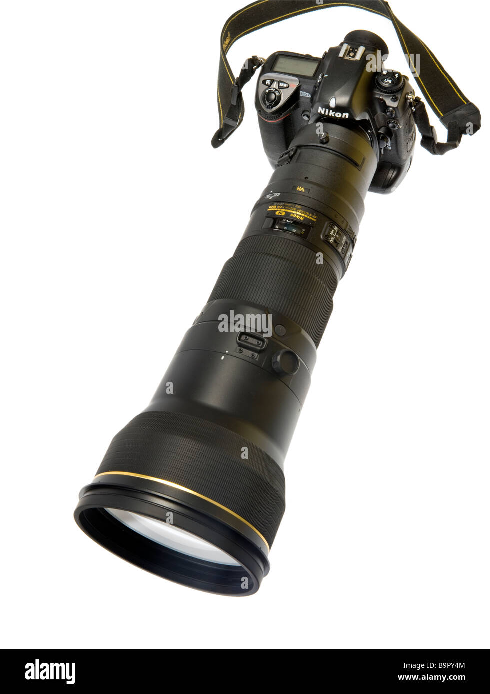 telephoto telelense tele lense 600 mm AF-S VR II Nikon skilled professional professionell professionally reflex - Stock Image