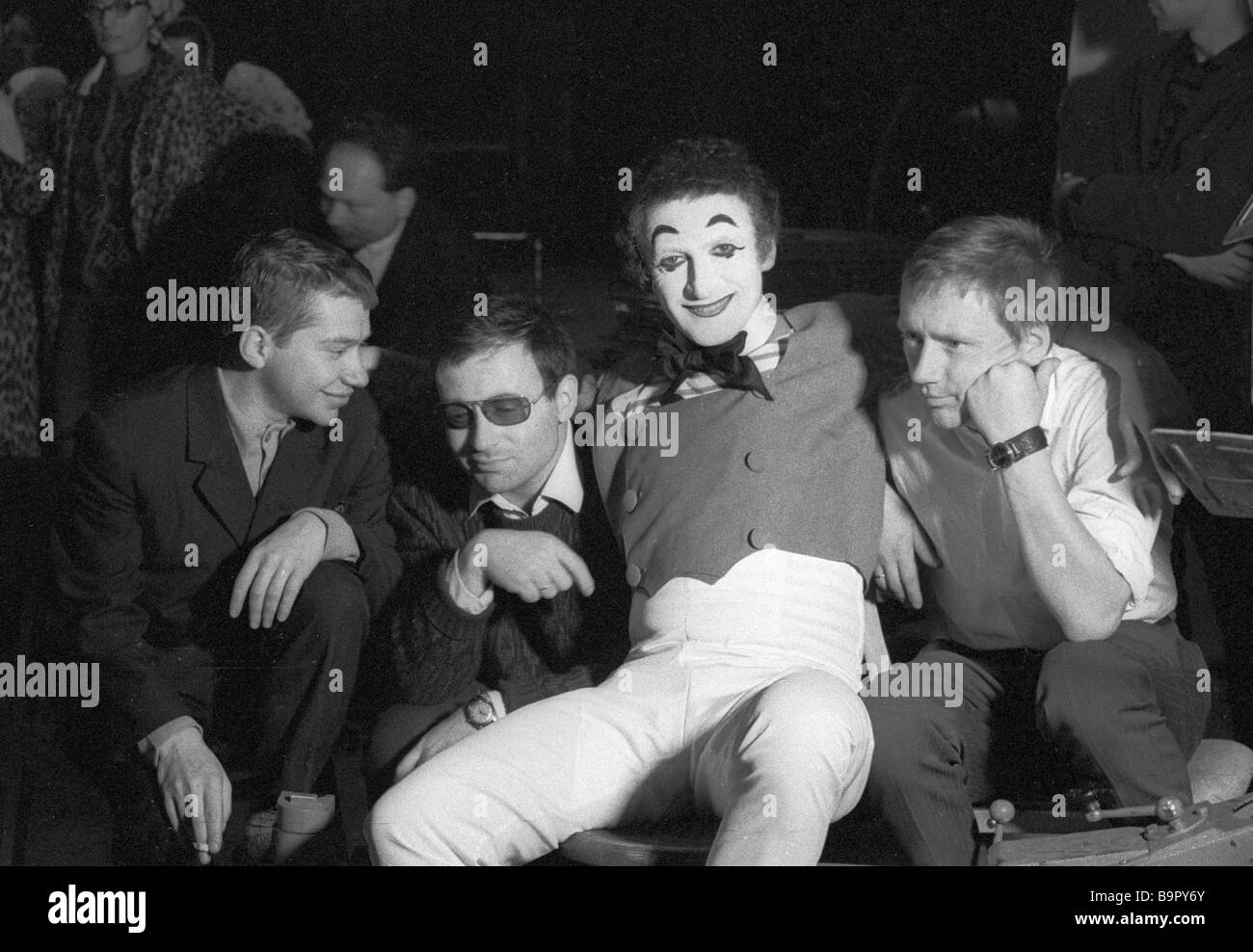 Left to right Alexei Yuzovsky Two Hours Early film review director Arkadi Koltsaty camera Marcel Marceau renowned - Stock Image