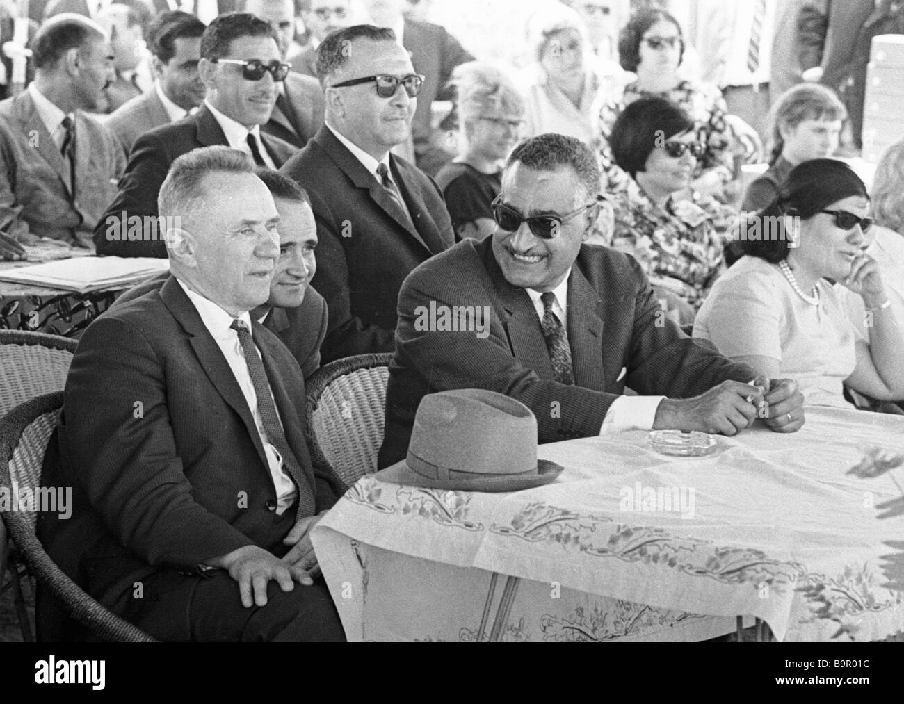 Alexei Kosygin Chairman of the U S S R Council of Ministers Government left and Egyptian President Gamal Abdel Nasser - Stock Image