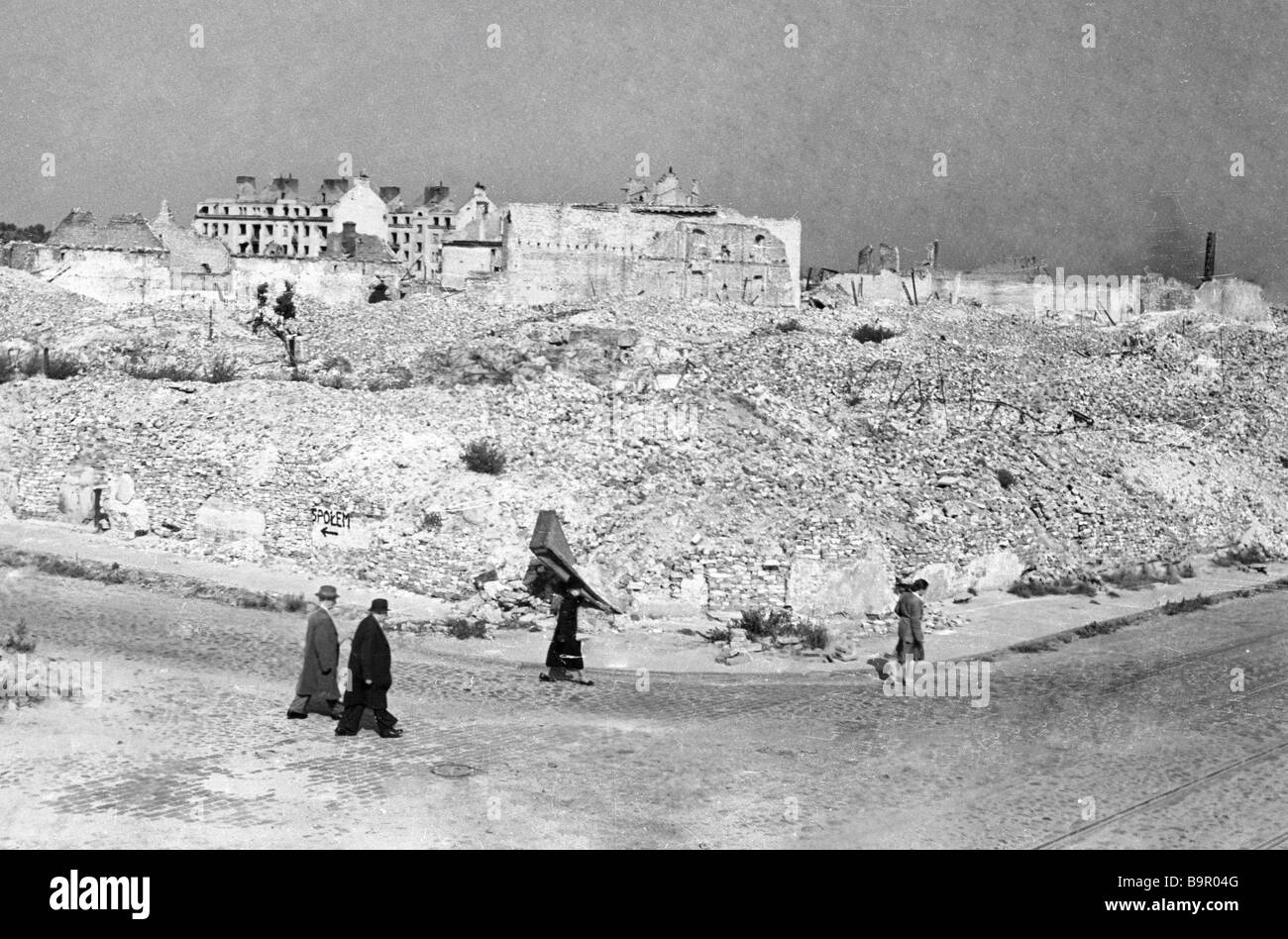A town in Western Europe completely destroyed by Nazi aircraft - Stock Image