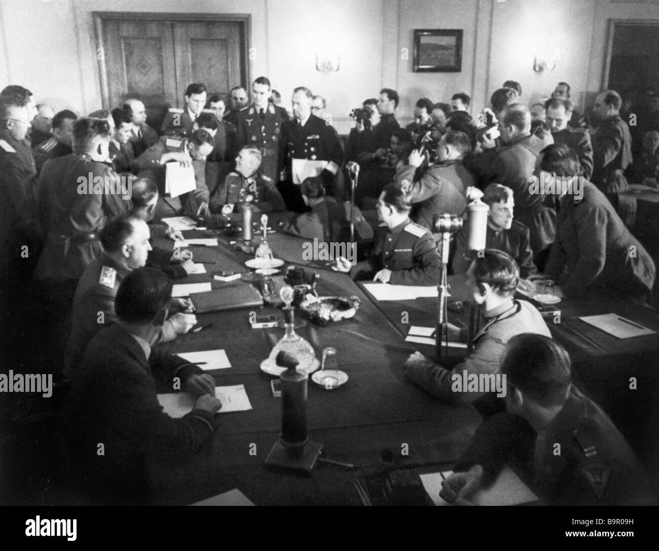 The act on Germany s surrender was signed in the two storied building of the former canteen of the German military - Stock Image