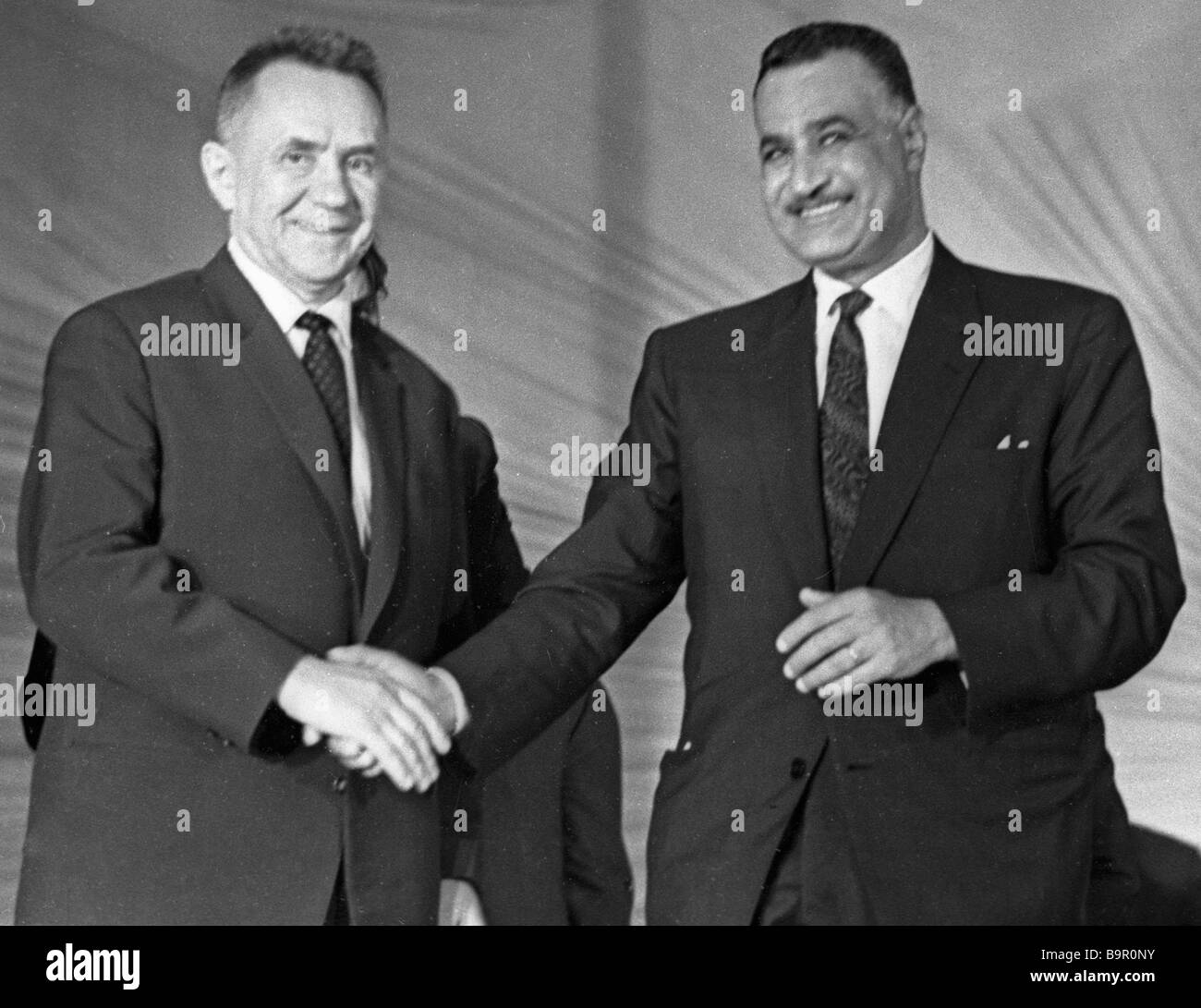 Alexei Kosygin USSR Council of Ministers Chairman Prime Minister left and Egypt s President Gamal Abdel Nasser right - Stock Image