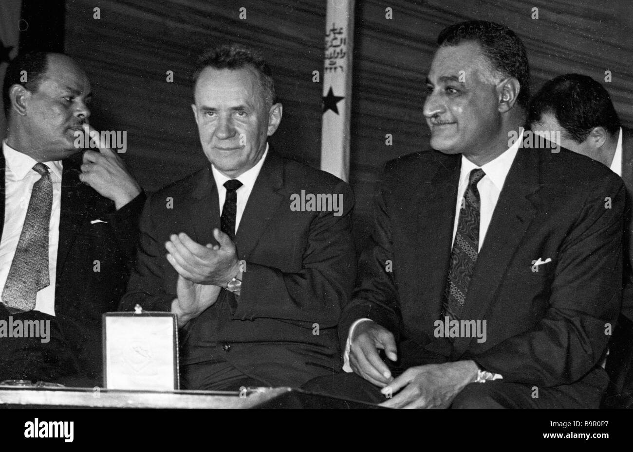 Alexei Kosygin USSR Council of Ministers Chairman Prime Minister center and Egypt s President Gamal Abdel Nasser - Stock Image