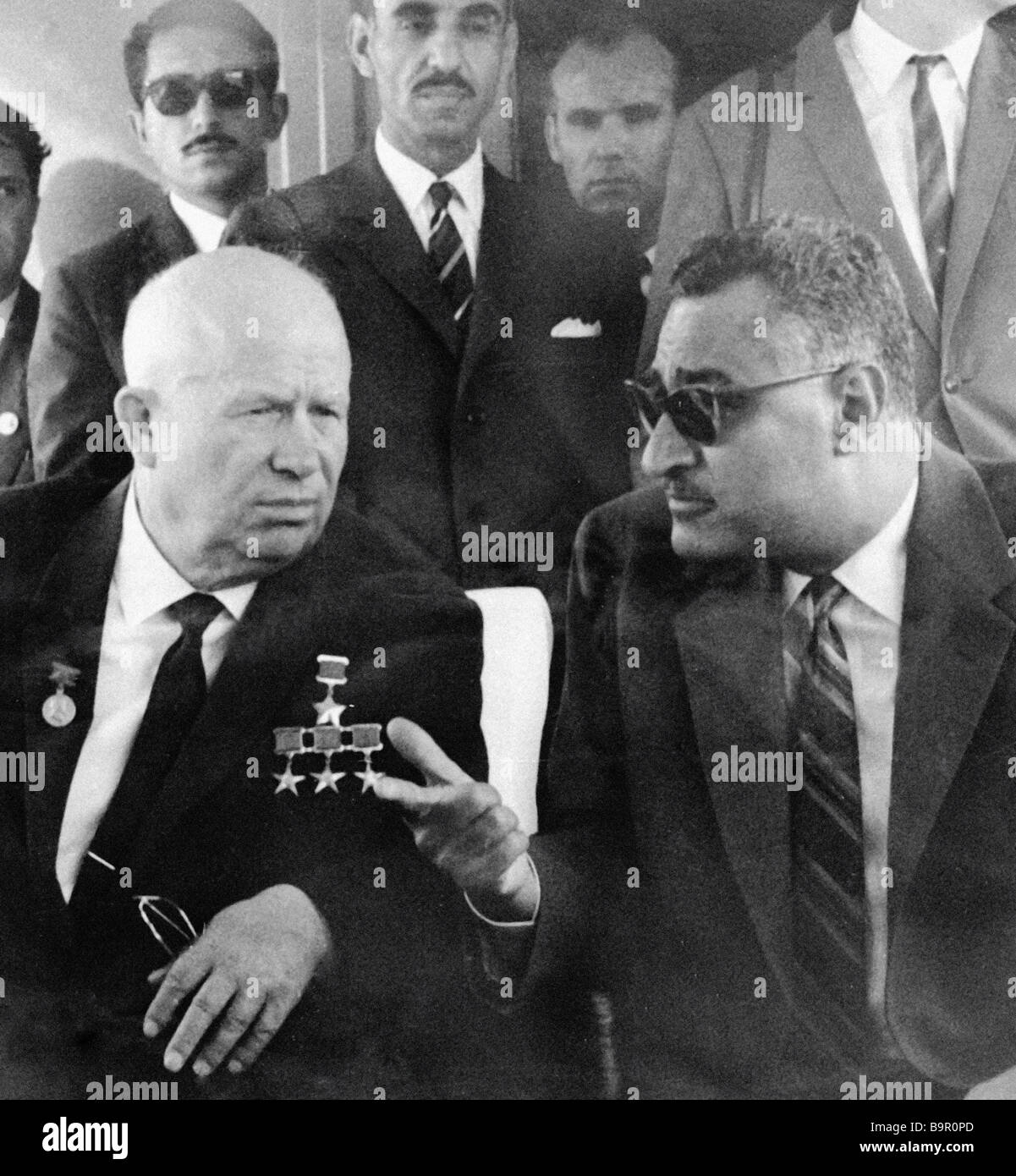First secretary of the CPSU Central Committee Nikita Khrushchev left talks to the Egyptian President Gamal Abdel - Stock Image