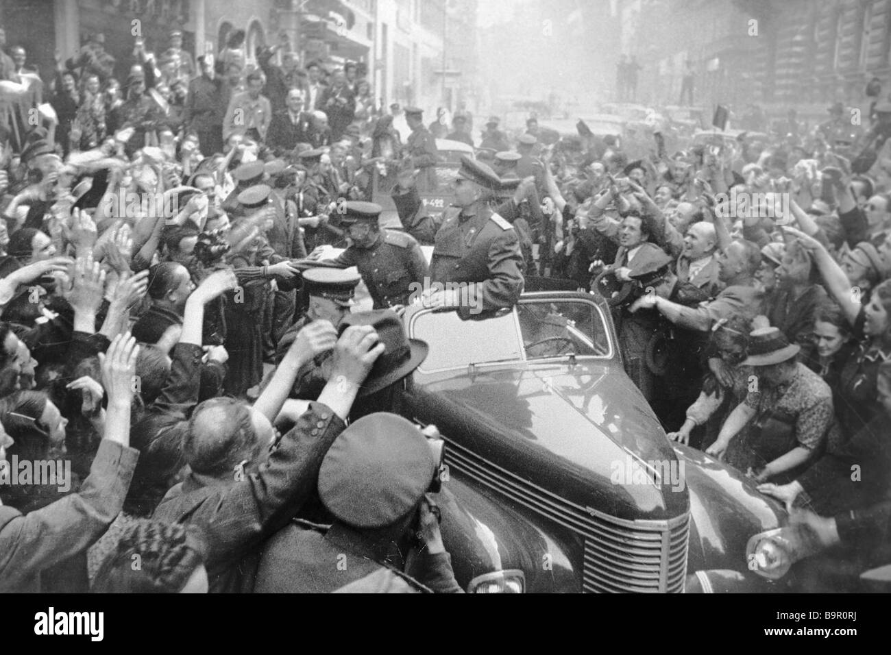 People of Prague welcome Soviet liberators led by Marshal I S Konev - Stock Image