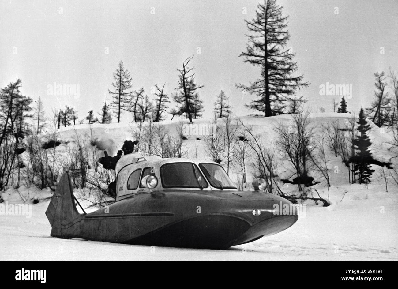 The amphibian aero sleigh designed by Andrei Tupolev being tested - Stock Image