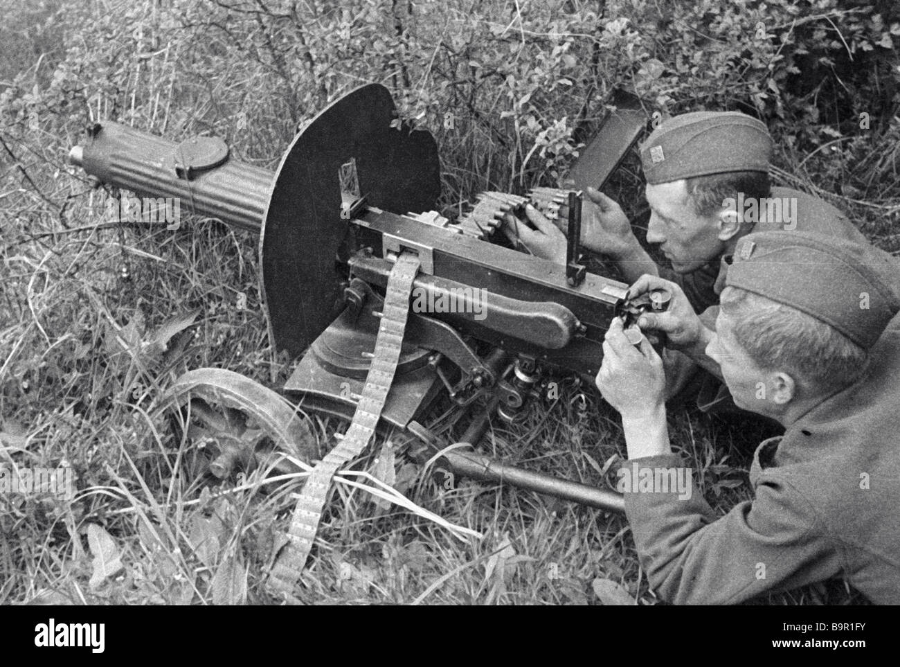 Machine gunners of the Czechoslovak Corps fighting during the WWII - Stock Image