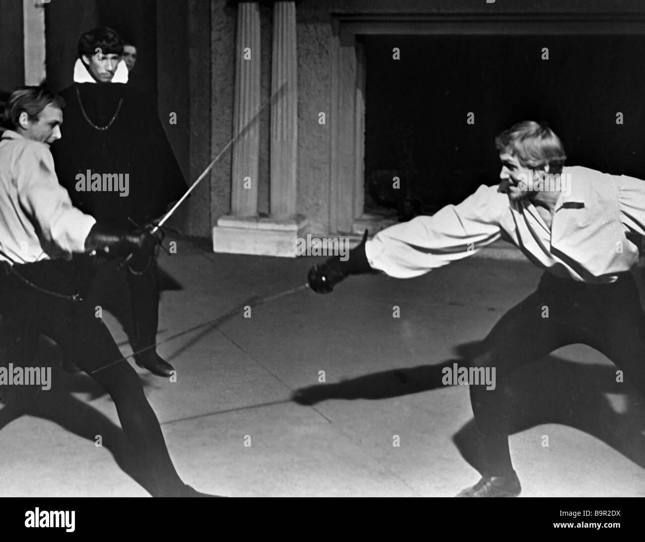 Innokenty Smoktunovsky as Hamlet left and Stepan Oleksenko as Laertes right in film Hamlet by Grigory Kozintsev - Stock Image