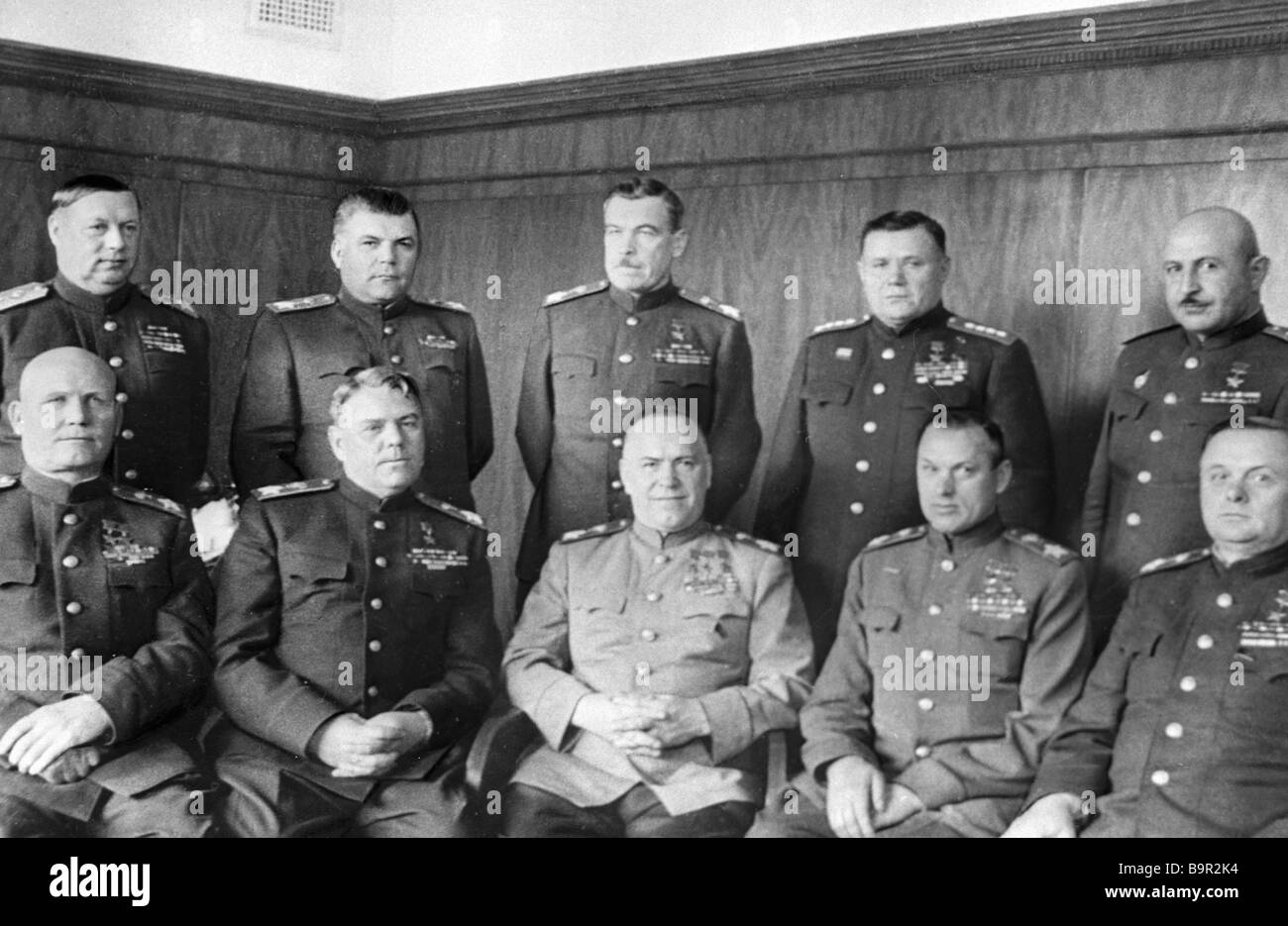 Front commanders of the World War Two Russian theatre Left to right foreground Marshals Ivan Konev Alexander Vasilevsky - Stock Image