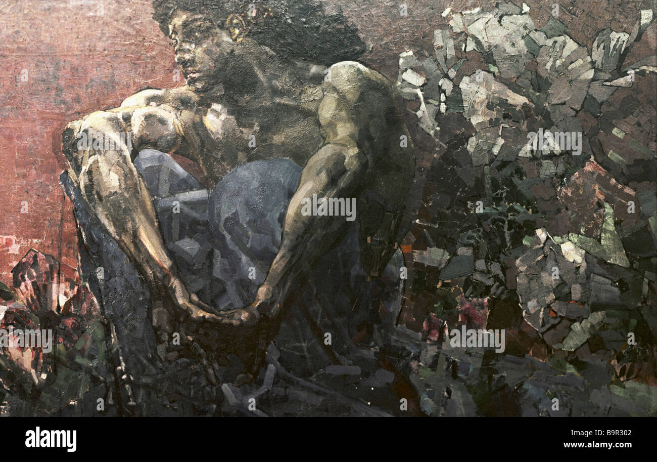 Reproduction of Mikhail Vrubel s painting The Demon 1890 from the Tretyakov State Gallery collection - Stock Image