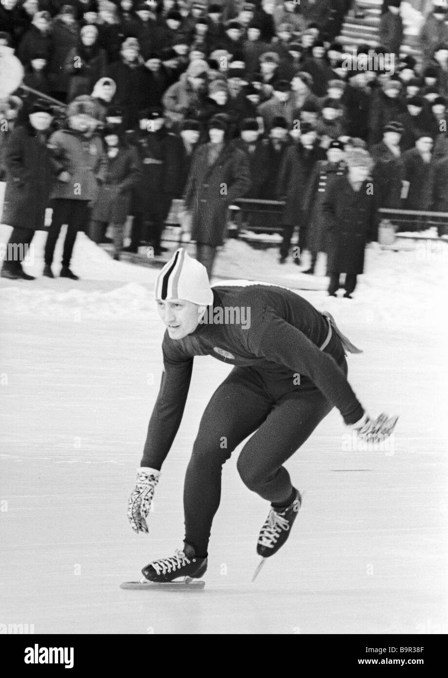 Pentathlon silver medallist Valery Kaplan at the USSR Peoples Winter Spartakiade - Stock Image